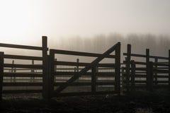 Silhouette de lever de soleil de porte de pré Image libre de droits