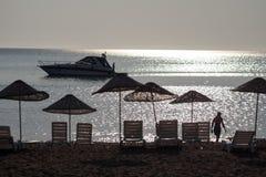 Silhouette de lever de soleil sur la plage Turquie Photos libres de droits