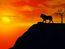 silhouette de lion Images stock