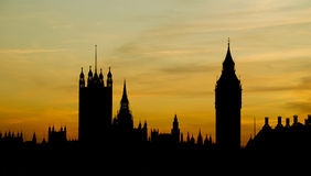Silhouette de Londres - Chambres du Parlement et grand Photo stock
