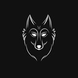 Silhouette de loup Emblème de logo de visage de loup de vintage Photos stock