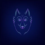 Silhouette de loup Emblème de logo de visage de loup de vintage Photographie stock