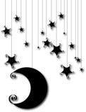 Silhouette de lune et d'étoile de dessin animé d'isolement sur le blanc Photographie stock