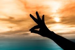 Silhouette de main sous le coucher du soleil Image libre de droits