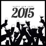 Silhouette 2015 de mains de grillage de bonne année