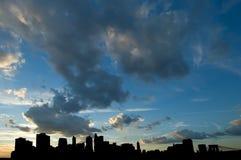 silhouette de Manhattan Image stock