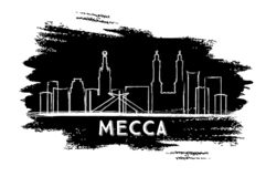 Silhouette de Mecca Saudi Arabia City Skyline Croquis tiré par la main illustration de vecteur