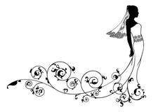 Silhouette de mode de mariage de jeune mariée Images stock