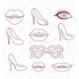 Silhouette de monochrome d'éléments de filles de femmes de mode Images stock