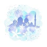 Silhouette de mosquée et peinture d'arabesque Images stock