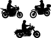Silhouette de motocyclistes Photos libres de droits