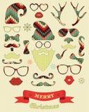 Silhouette de Noël réglée sur la texture de tricotage illustration libre de droits