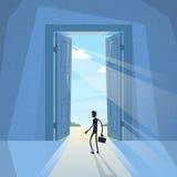 Silhouette de noir d'homme d'affaires se tenant à l'homme d'affaires d'entrée de porte illustration libre de droits