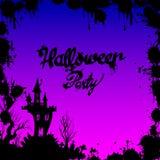 Silhouette de nuit d'horreur d'illustration de château de Halloween de lune Photo libre de droits