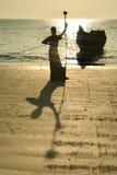 silhouette de pêcheur Image libre de droits