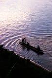 Silhouette de pêcheur Images stock