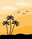 Silhouette de palmier Photographie stock