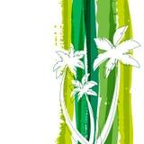 Silhouette de palmier et esprit de fond d'aquarelle de rayures de vert Images libres de droits