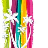 Silhouette de palmier et fond W d'aquarelle de rayures d'arc-en-ciel Image stock