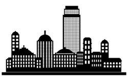 Silhouette de panorama de ville Photo stock