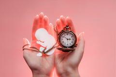 Silhouette de papier d'embryon avec la chaîne et horloge chez des mains de la femme Fond rose-clair Orientation molle photo libre de droits