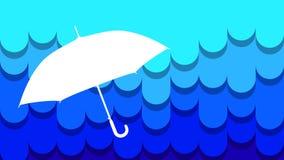 Silhouette de parapluie de pluie au loin Photos libres de droits