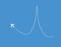 Silhouette de Paris d'avion photo stock