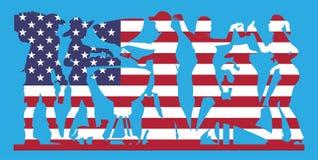Silhouette de partie de barbecue avec le drapeau des Etats-Unis illustration libre de droits