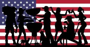 Silhouette de partie de barbecue devant le drapeau des Etats-Unis illustration stock