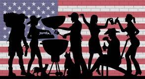 Silhouette de partie de BBQ devant le mur de briques avec le drapeau des Etats-Unis illustration libre de droits