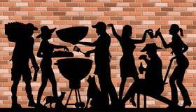 Silhouette de partie de BBQ de Memorial Day devant le mur de briques illustration libre de droits
