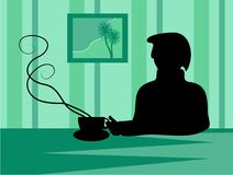 Silhouette de pause-café illustration stock