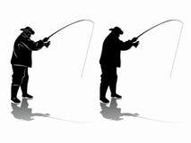Silhouette de pêcheur Retrait de vecteur Photographie stock