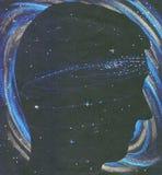 Silhouette de personne d'univers dans l'espace Images libres de droits