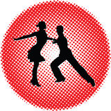Silhouette de personnes de danse Photos libres de droits