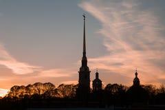 Silhouette de Peter et de Paul Fortress Images libres de droits