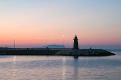 Silhouette de phare de Civitanova Marche Photos stock
