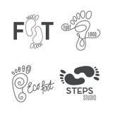 Silhouette de pied Logo de centre médico-social, salon orthopédique Pied nu de signe Photos stock