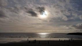 Silhouette de plage Photographie stock