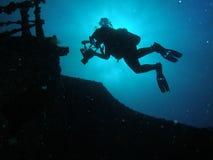 silhouette de plongeur Images libres de droits