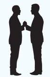 Silhouette de poignée de main d'homme de couleur illustration stock