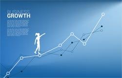 Silhouette de point de femme d'affaires en avant sur le graphique croissant illustration libre de droits
