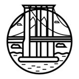Silhouette de pont de St Johns à Portland Orégon illustration libre de droits