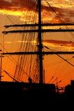 Silhouette de port Photographie stock
