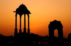 Silhouette de porte d'Inde Photographie stock libre de droits