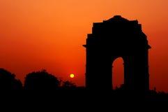 Silhouette de porte d'Inde Photographie stock