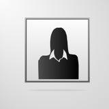 Silhouette de portrait de femme d'affaires, icône femelle Photos stock