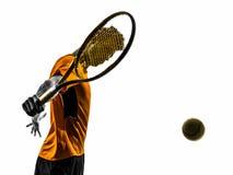 Silhouette de portrait de joueur de tennis d'homme photographie stock