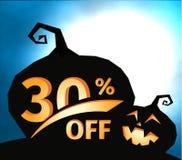Silhouette de potiron sur le ciel bleu-foncé avec la pleine lune Halloween 30 pour cent, bannière de vente Offre de vacances, aut illustration stock