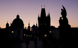 Silhouette de Prague Images libres de droits
